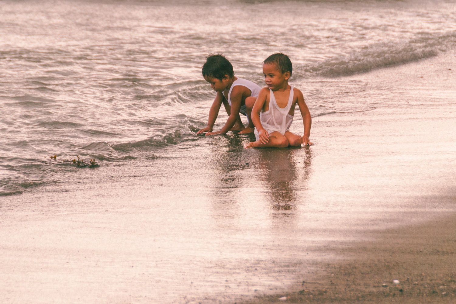 Two boys in the water