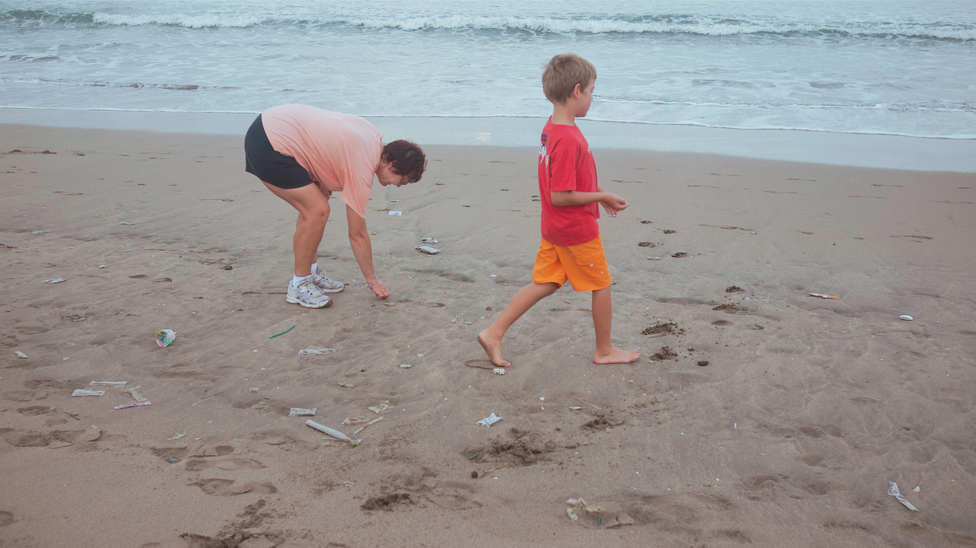 picking up shells