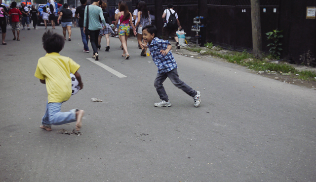 Children playing in the streets