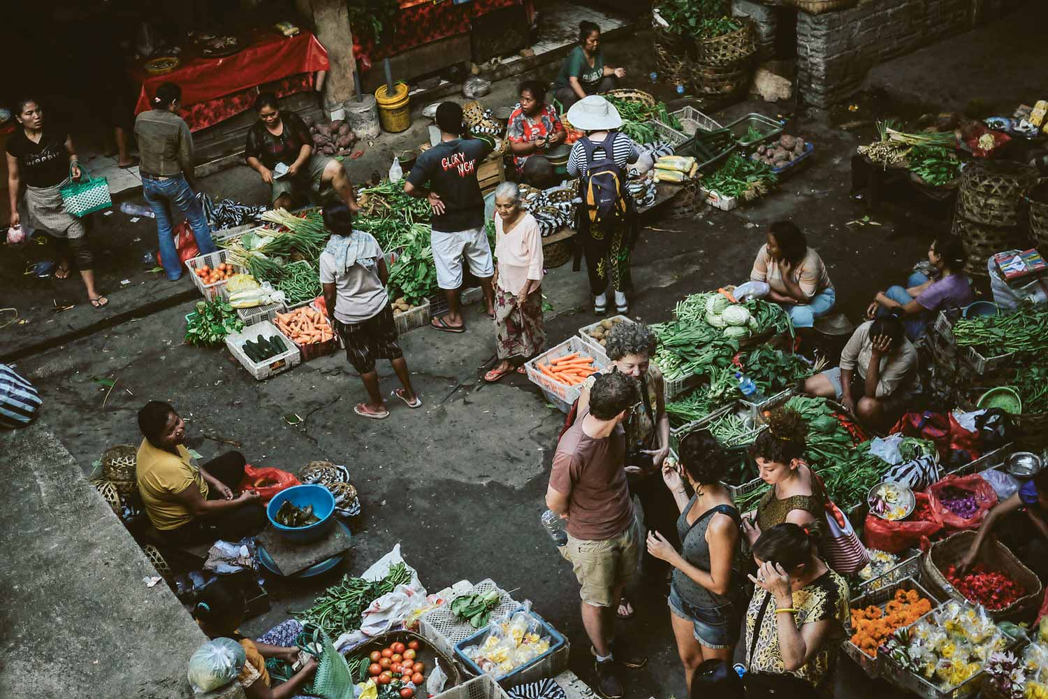 Tourists exploring the market